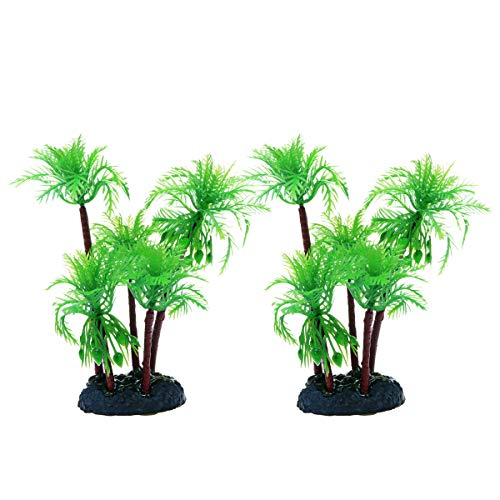 Saim Aquarium Plants Plastic Coconut Tree,Artificial 5.2inch Palm Trees/Aquatic Fish Tank Decoration Ornament for Home, Hotel and Office Aquarium -2PCS