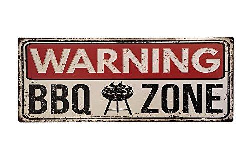 zeitzone Blechschild Warning BBQ Zone Nostalgie Vintage Dekoschild Grillen 20x50cm