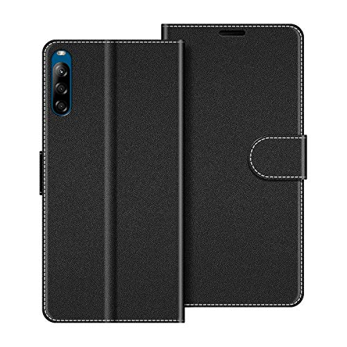 COODIO Handyhülle für Sony Xperia L4 Handy Hülle, Sony Xperia L4 Hülle Leder Handytasche für Sony Xperia L4 Klapphülle Tasche, Schwarz