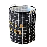 lujiaoshout Collapsible Storage Bins Cotton Printing Foldable Storage Basket Laundry with Rope Handles for Clothes Laundry - Black