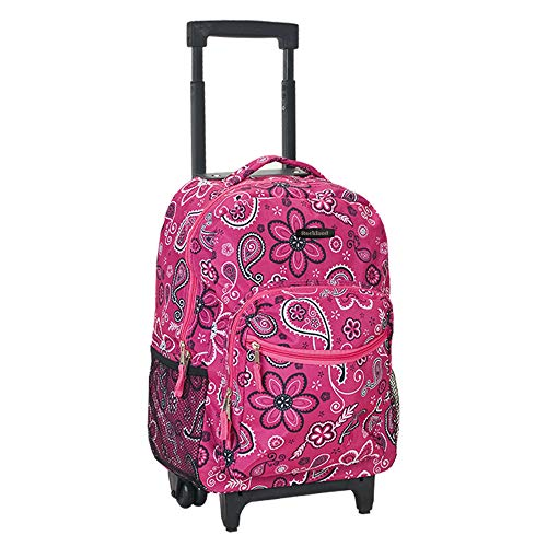 Rockland Double Handle Rolling Backpack, Bandana, 17-Inch