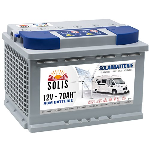 SOLIS Solarbatterie 12V 70Ah AGM Batterie Versorgungsbatterie Wohnmobil Verbraucher Boot Wohnwagen Camping Batterie zyklenfest (70AH 12V)
