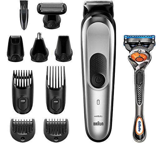 Braun Recortadora MGK7220 10 en 1, Máquina recortadora de barba, set de depilación corporal y cortapelos para hombre, color gris plateado