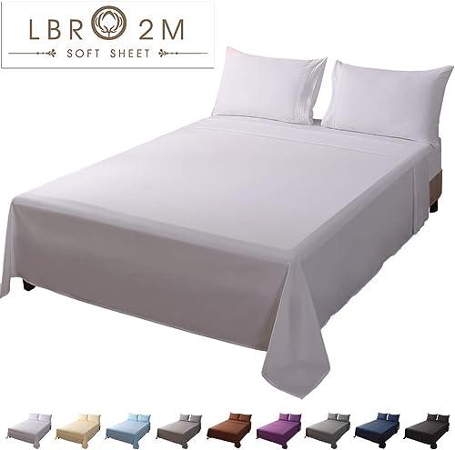 LBRO2M Bed Sheet Set King Size 16 Inches Deep Pocket 1800 Thread Count 100% Microfiber Sheet,Bedding Super Soft Comfo...