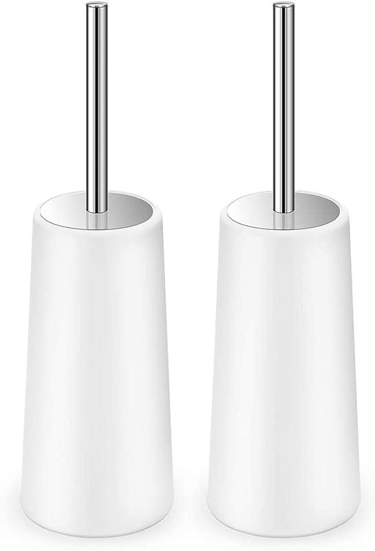 Toilet Brush And Holder 2 Pack Toilet Brush With 304 Stainless Steel Long Handle Toilet Bowl Brush For Bathroom Toilet Ergonomic Elegant Durable