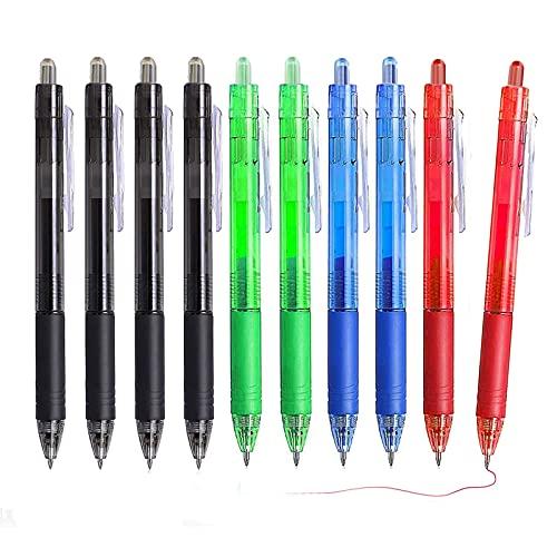 Penne Cancellabili, 10 Pezzi Penna Roller a Inchiostro Gel Cancellabile Punta da 0.7 mm, Penna a sfera Cancellabile per bambini Adulti Studenti (Nero, blu, verde, rosso)
