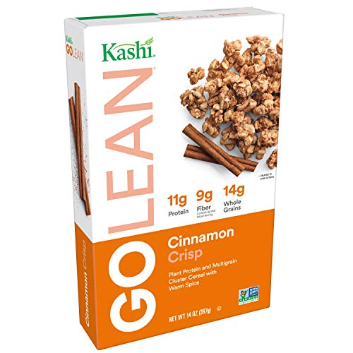 Kashi GO Cinnamon Crisp Breakfast Cereal - Non-GMO Project Verified, Vegan, 14 Oz Box (Pack of 4 Boxes)