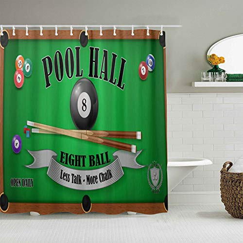 ALLMILL Shower Curtain Billiard Pool Hall Eight Ball Waterproof Bath Curtains Hooks Included - 72 x 72 inches Bathroom Decorative Ideas Polyester Fabric Accessories