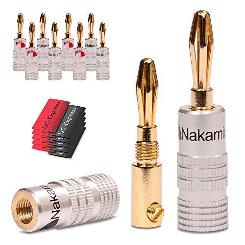 Nakamichi, 24x connettore a banana High End UC-Express 8X per cavi fino a 6mm², placcati oro 24K, saldabili o avvitabili, senza plastica, in nero e rosso