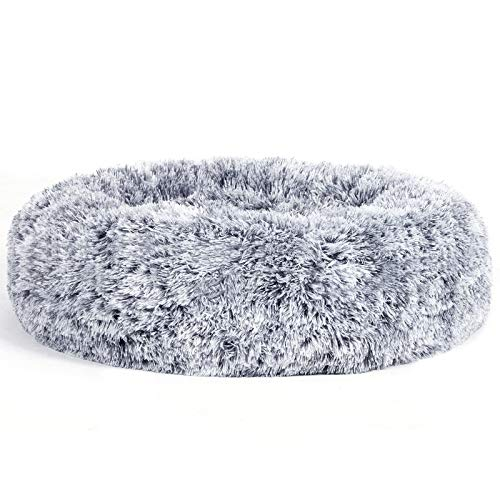 FEANDREA Hundebett, Katzenbett, weiche PV-Samtoberfläche, 60 cm, grau PGW038G01
