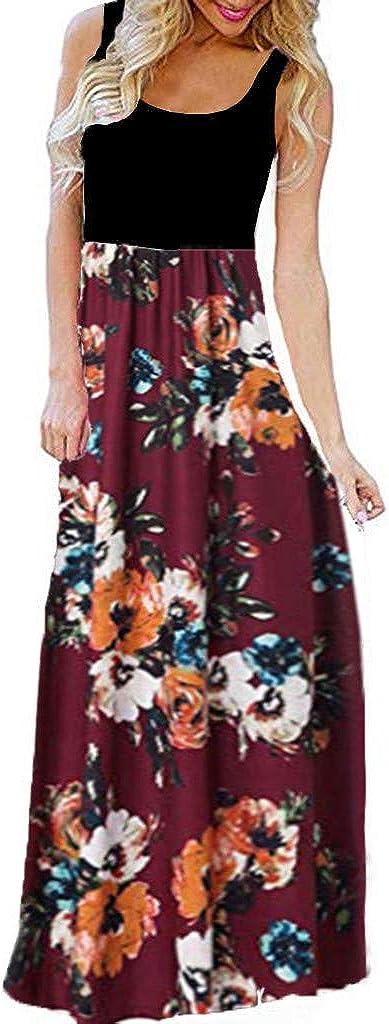 HHmei Women's Casual Sleeveless O-Neck Print Maxi Tank Long Dress