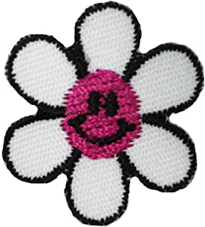 Lot of 3 Pink Smiley Face Daisy Patches Cute Spring Embroidered Iron On Applique