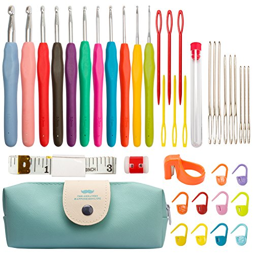 FASOTY 40 Pack Crochet Hooks Set Ergonomic Handles 2.0mm-8.0mm Knitting Needles Kit and Other Knitting Accessories with Gift Pouch Bag Case