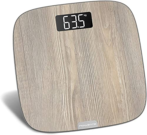 Rowenta BS1600 Origin Light Wood, Báscula de Baño con Pantalla LCD, Madera