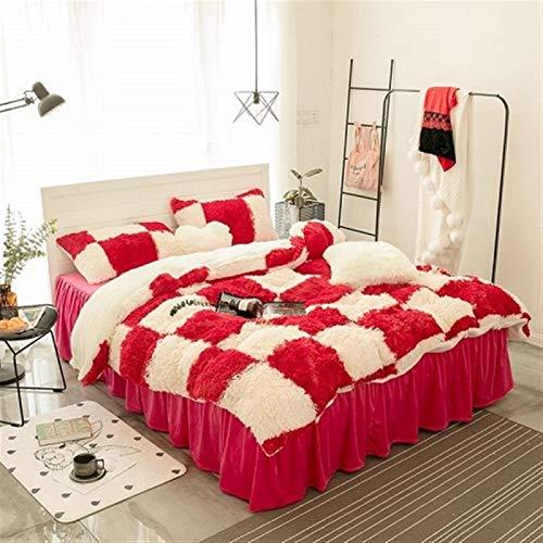 ESUHUANG Purple Gray White Blue Pink Warm Mink Velvet Bedding Set Soft Berber Fleece Duvet Cover Flannel Bed Sheet Bed Skirt Pillowcases (Color : 9, Size : Heart shaped pillow)