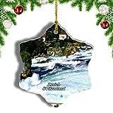 Weekino Suiza Rhine Falls Zurich Decoración de Navidad Árbol de Navidad Adorno Colgante Ciudad Viaje Porcelana Colección de Recuerdos 3 Pulgadas