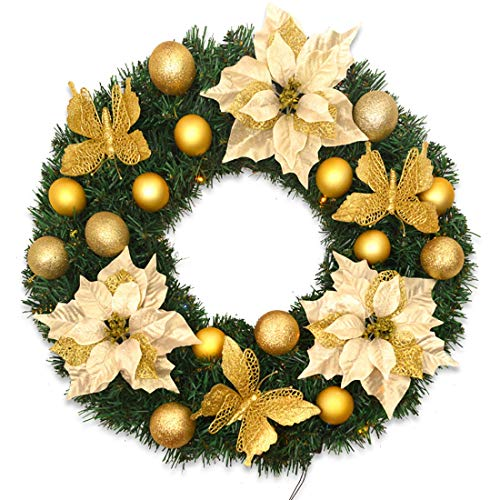 JSLY -Garland Christmas Decoration Wreath Flowers Balls Rattan Circle Holiday Window Props Handmade Garland Made of PVC with LED Light 40cm Gold Creative (Size : 5cm, 款式 : with LED Light)