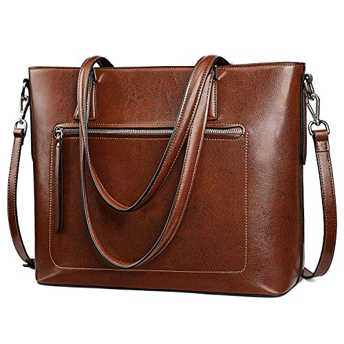 S-ZONE Bolso de mano de cuero para las mujeres hombro bolsa de trabajo con correa de equipaje
