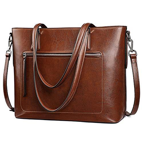 S-ZONE Bolso de mano de cuero genuino para mujer bolsa de trabajo de hombro con correa de equipaje, Marrón (Café Oscuro), Medium