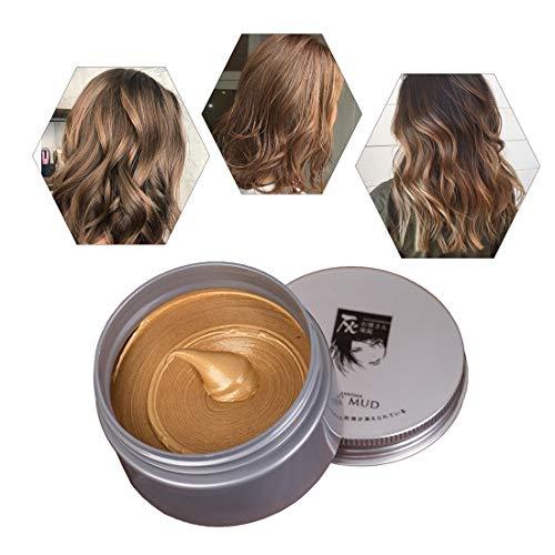 Temporäre Haarfarbe Farbstoff Non-permanent DIY Haarfarbe Wachs Schlamm Washable Farbiges Haarfarbe Creme Für Party Cosplay Halloween (braun)