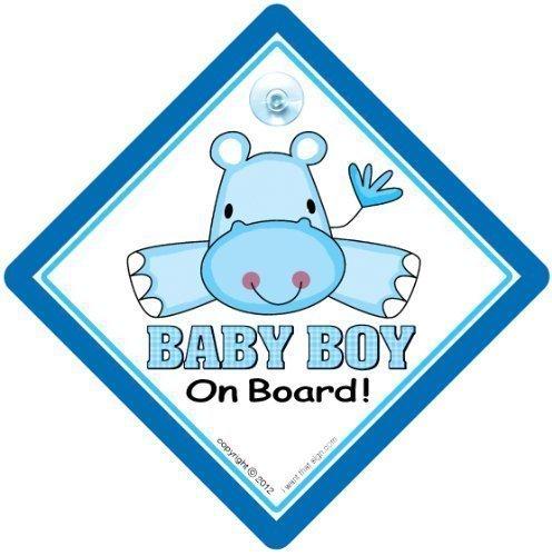 Baby an Bord Autoschild Auto Schild, Schild mit Saugnapf, Enkelkind Bord, Junge Blau Hippo, On Board Zeichen, Autoschild, Stoßstange Aufkleber Baby, Aufkleber, Baby-Schild,