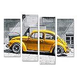 Bild Bilder auf Leinwand Käfer Vintage Beetle Gelb vor