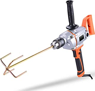 Multipurpose Power Drill Corded Spade Handle Drill Stirring and Drilling Tools Electric Hand Mixer for Mud Cement Oil Paint 220V 3-16mm Chuck (Orange)