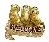 Kremers Schatzkiste Erdmännchen 3 Weisen als Welcome Schild Figur Gartenfigur 24 cm Meercat Tierfigur