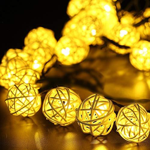 Eqosun® Rattan Solar Lichterkette |20 LEDs| in warmweiß für Außen und Innen