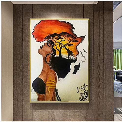 Wall Art ZXYFBH Classical African Woman Paintings On The Wall Abstract Sunset Landscape Wall Art Canvas Prints and Posters Pictures Home Decor 19.7x27.6in(50x70cm) x1pcs No Frame