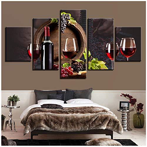 Embellezca 5 piezas de vasos de vino tinto Imágenes para la decoración de la cocina Pintura en lienzo HD Decoración para el hogar Carteles Carteles de roble Barriles (sin marco) 30x40 30x60 30x80cm