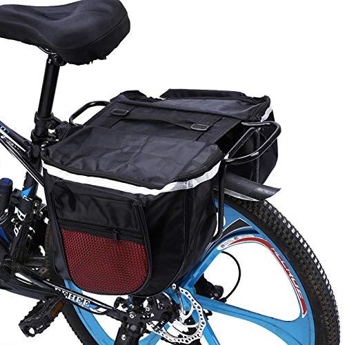 Alforjas para bicicleta Bolsa para bicicleta - 25L Bolsa impermeable para rejilla trasera Bolsa multifunción para asiento trasero para ciclismo con asa de transporte Ribete reflectante y bolsillos gra