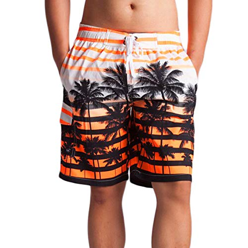 DINGQU Men's Short Swim Trunks Best Board Shorts for Sports Running Swimming Beach Surfing Quick Dry Breathable Mesh Lining (Orange, 32)