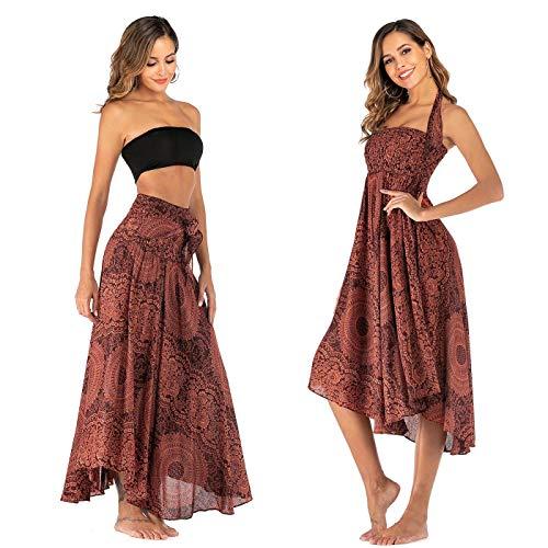 FEOYA Falda 2 en 1 para mujer, larga, verano, estilo bohemio, para la playa, con flores, cintura alta, hippie Patrón 18. Talla única