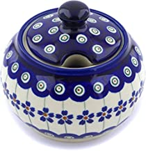 Polish Pottery 9 oz Sugar Bowl (Flowering Peacock Theme) + Certificate of Authenticity