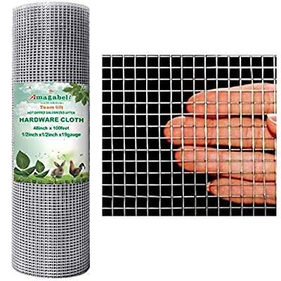 48x100 1/2Inch Hardware Cloth Galvanized Welded Cage Wire 19 Gauge Fence Mesh Roll Garden Plant Supports Poultry Netting Square Chicken Wire Snake Fencing Gopher Fence Racoons Rabbit Pen Gutter