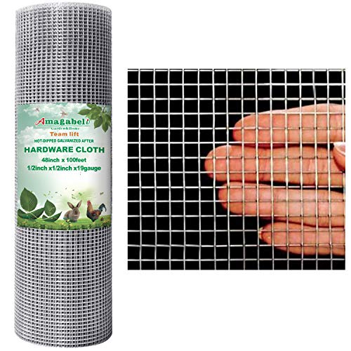Amagabeli 48x100 Hardware Cloth 1/2 Inch 19 Gauge Square Galvanized Chicken Wire Galvanizing After Welding Fence Mesh Roll Raised Garden Bed Plant Supports Poultry Netting Cage Snake Fence