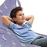 ABAKUHAUS Sport Unicorn Toy Bag Lounger Stuhl, Roller Skates Floral Design, Hochleistungskuscheltieraufbewahrung mit Griff, Mauve Weiß und Pfirsich