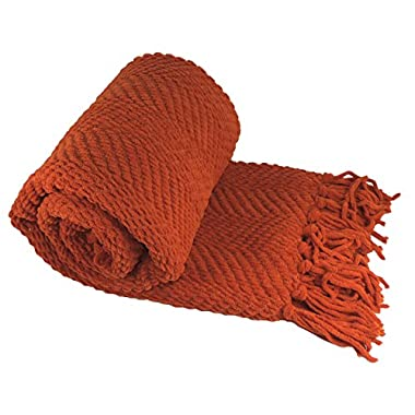 BOON Knitted Tweed Throw Couch Cover Blanket, 50 x 60, Rust