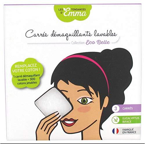 Les Tendances d'Emma Collection Eco Belle Carrés Démaquillants Lavables 3 Carrés Eucalyptus Biface