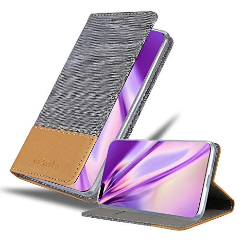 Cadorabo Book Case works with Huawei P40 PRO in LIGHT GREY BROWN - with Magnetic Closure, Stand Function and Card Slot - Wallet Etui Cover Pouch PU Leather Flip