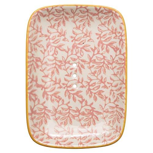 Tranquillo Eckige Seifenschale LIESI aus Steingut mit Löchern für den Wasserablauf 13,5 x 9,5 x 2 cm