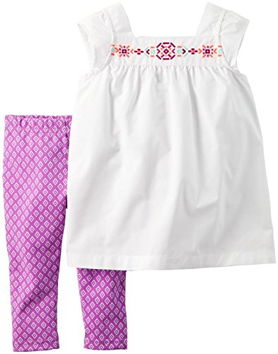 Carter's 2 teilige Kombination für Mädchen Tunika + Caprihose/Hose Baby Girl Dress Sommer Outfit Set T-Shirt Bluse (6 Monate, Weiss/lila)