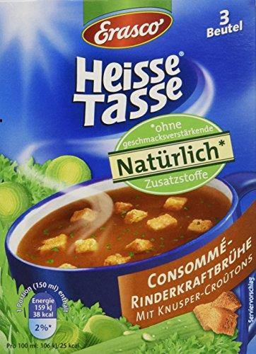 Heisse Tasse Consommé-Rinderkraftbrühe mit Croûtons Faltschachtel á 3 Beutel á 0,15 l, 12er Pack (12 x 450 ml)