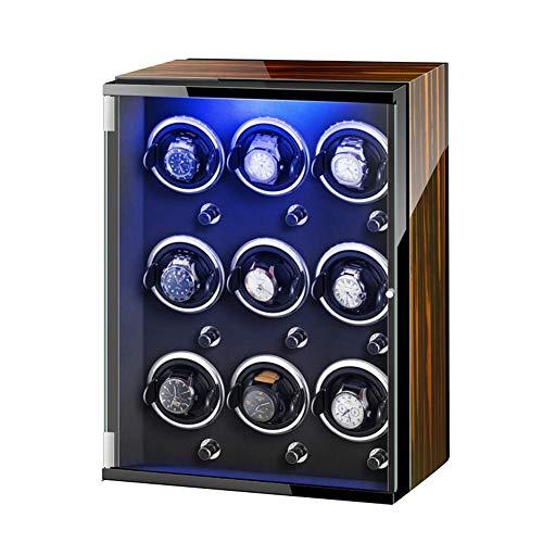 ZCYXQR Caja enrolladora de Reloj automática con Luces de Colores Motor silencioso Mabuchi 5 Modos de rotación Almacenamiento de Joyas múltiples para Relojes automáticos para Dama y Hombre (Color: A)