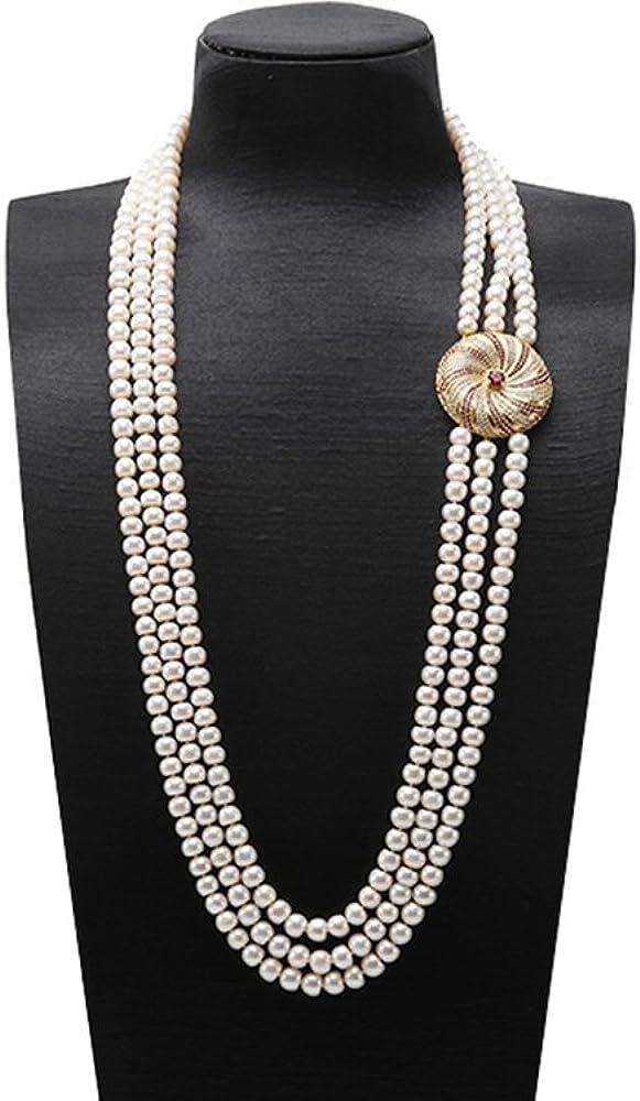 JYX High Grade 8-9mm Three-Strand Freshwater Pearl Opera Necklace