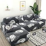 uyeoco Funda de sofá de Sala de Estar Chaise Longue, en Forma de L Necesita Comprar 2 Juegos, Funda de sofá elástica Funda de sofá de Esquina en Forma de L (Color : F, Size : 3 plazas (190-230cm))