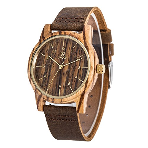 Men's Wood Watch Vintage Analog Quartz Movement Wooden Watch Genuine Leather Zebra-Wood by LinTimes