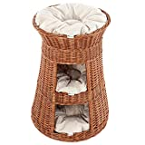 Floranica® Superior Three Tiers Wicker Cat Tower Bed Basket House + cushions, organic willow product, made in the EU, Cushion color:light cushions, Model:nature tower