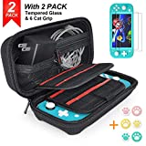Nintendo Switch Lite Case with 2 Pack Screen Protector & 6 Pcs Thumb Grip, 20 Game Cartridges Hard Shell Travel Carrying Switch Lite Pouch Case for Nintendo Switch Lite Console & Accessories, Black